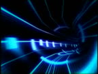 CGI point of view through curving tube lined with blue lines of light on black background