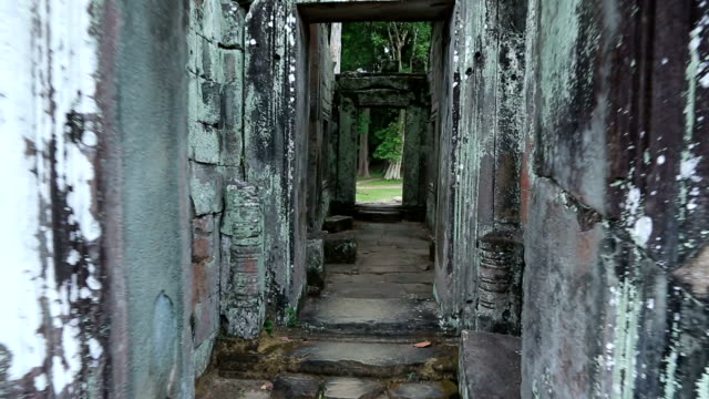 Point Of View Walking Inside Angkor Wat Temple, Cambodia