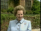 Poland leader Jaruzelski UK visit ITN Chequers MS Thatcher and Jaruzelski standing in garden CMS Thatcher speaking CMS Jaruzelski speaking CMS...