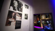 Polar studio exhibit at the Abba Museum in Stockholm Sweden on October 7 Wide shot and close ups of Abba newspaper articles on display Wide shots and...