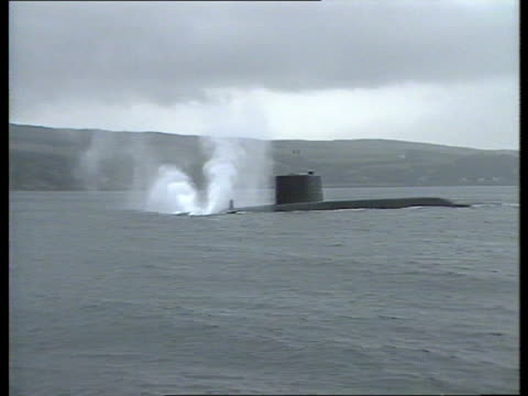Polaris submarine support operation ITN LIB 050984 Clyde MS Royal Navy polaris submarine HMS Repulse submerging R