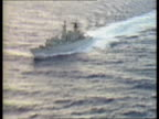 Polaris submarine support operation ITN Royal Navy Frigate HMS Beaver towards