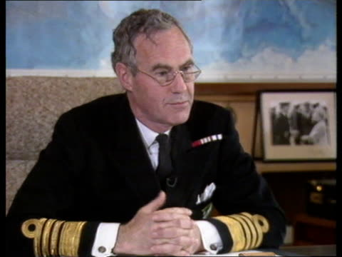 Polaris submarine support operation ITN CMS Admiral Sir Julian Oswald interview SOF 'The Soviets have of the 1990s' INT On Board Nimrod INT TMS Row 3...