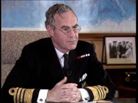 Polaris submarine support operation Northwood INT CMS Admiral Sir Julian Oswald interview SOF On Board Nimrod INT TMS Row 3 sonar operators at work...