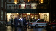 MS Police activity in front of old European hotel