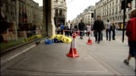 Police appeal for witnesses after man found with serious head injuries in London's West End ENGLAND London Regent's Street EXT Long shot of Banana...