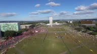 Police barriers separate pro and anti government demonstrators in the Brazilian capital Brasilia as lawmakers vote to impeach President Dilma Rousseff
