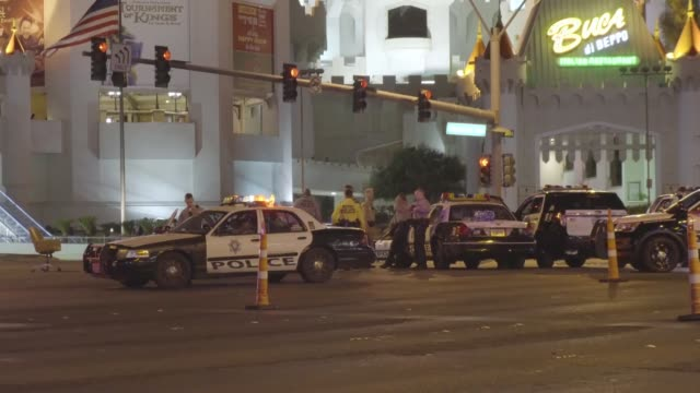 Police block the roads leading to the Mandalay Hotel after a mass shooting at a country music festival on October 02 2017 in Las Vegas Nevada USA At...