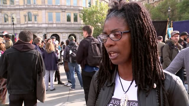 Families march in London to highlight release of an independent report London Protesters and 'Justice for Sean Rigg' banner Marcia Rigg interview SOT...