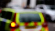 Police emergency service lights defocused