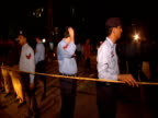 Police guard cordoned off area follwing bombing at rally for Chief Justice