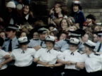 A police line hold back hysterical Bay City Rollers fans 1975