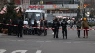Police locks the street to prevent access to the Breitscheidplatz where the assassination took place in Berlin On the left side you can see the...