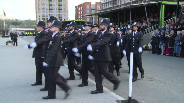 Police marching at Hendon Police College on October 27 2017 in London England