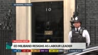 SPECIAL 1130 1230 Police officer guarding Number 10 David Cameron MP and wife Samantha Cameron leaving No 10 and along to car David Cameron holding...