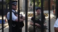 Police officers and soldiers are deployed in central London on May 24 2017 after terror threat level upgraded to critical in wake of deadly...