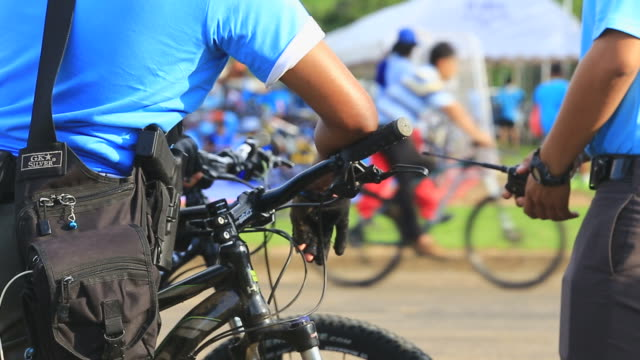 Police officers on bike. Sheriff patrol