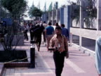 Police officers patrol the Munich Olympic village after 11 Israeli athletes were murdered by the Black September terrorist group 7 September 1972