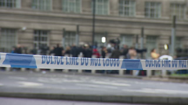 Police tape near the scene of the Westminster terror attack