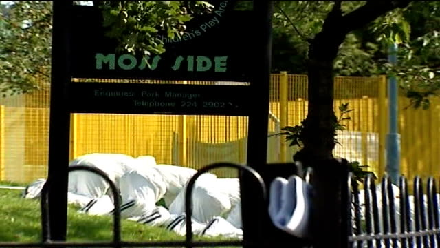Police use videosharing website to appeal for information on murder of Jessie James FILE / TX Moss Side EXT Moss Side park sign and forensic officers...