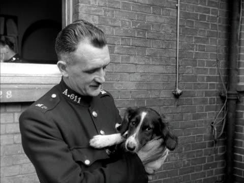 A policeman pets a stray dog 1950