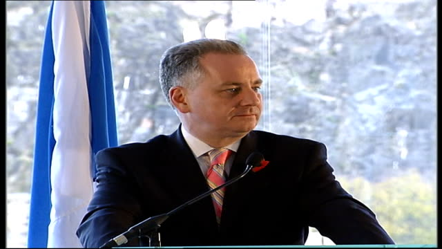 Polish President and Jack McConnell press conference SCOTLAND Edinburgh INT Jack McConnell as next to Lech Kaczynski stood at podiums Jack McConnell...