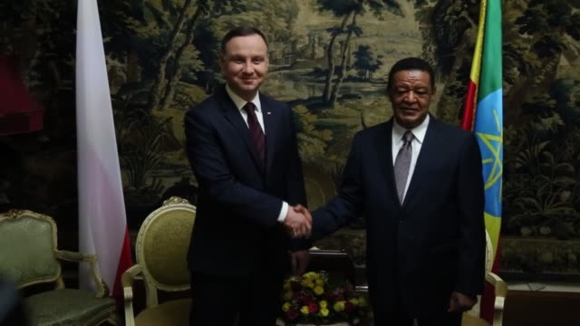 Polish President Andrej Duda is welcomed by Ethiopian President Mulatu Teshome Wirtu with an official welcoming ceremony and two leaders hold a...