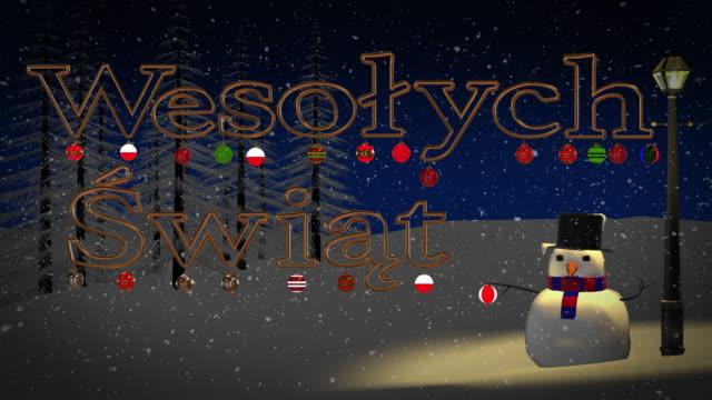 Polish Wesołych Świąt greeting with snowman and old gas lamp