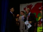 Political parties using technology in election campaigns LIB Powys Brecon Guildhall INT MS Loud cheer SOF ZOOM IN as Richard Livsey shakes...