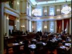 Politicians gathering in California State Senate chamber / Sacramento California USA
