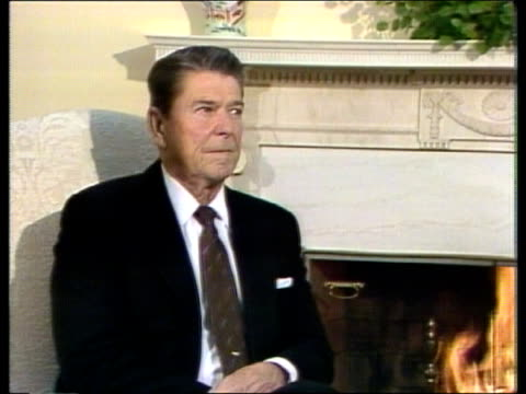 Andrei Gromyko new Russian President USA CMS Ronald Reagan US Pres seated Washington MS Gromyko seated with Reagan in White House front of open fire...