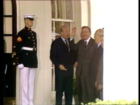 Andrei Gromyko new Russian President USA MS Gromyko and aides speaking with Tx 28984 Washington George Shultz US Sec of State ITN White House ZOOM IN...