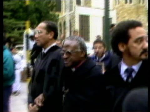 Politics Archbishop Tutu Arrested SOUTH AFRICA Cape Town Wounded demonstrators in hall after police beating Archbishop Desmond Tutu arriving at...