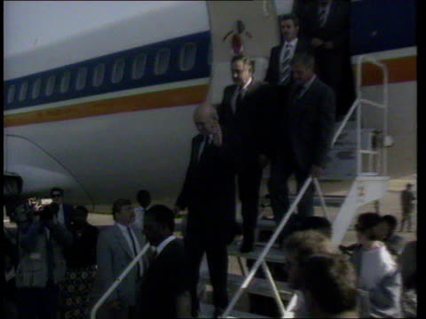 British AntiApartheid Coalition Formed ZAMBIA MS FW De Klerk Livingstone elect Pik Botha down steps TX Airport of SAA Boeing 737 shake Kenneth ITN...