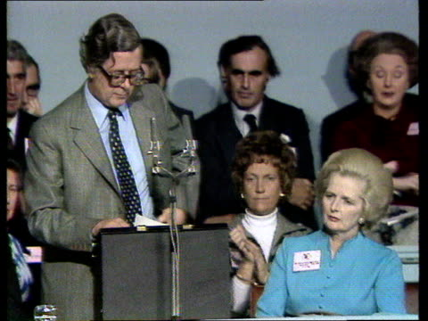 Conservative Party Conference d Geoffrey Howe on cost of socialism ENGLAND Brighton Sir Geoffrey Howe SOF We can't afford more pay for less work go...