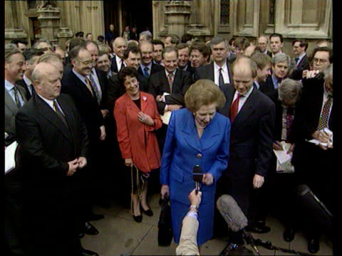 Conservative Party Thatcher Anniversary/New Philosophy LIB Thatcher supporting the leadership campaign of William Hague Thatcher next Hague