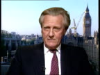 Conservatives Peter Lilley Speech Leaked ITN ENGLAND London Westminster Michael Heseltine MP interviewed SOT A clear reinforcement that the Health...