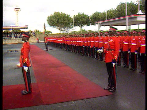 Democratic changes announced CF TAPE NO LONGER AVAILABLE KENYA CMS Daniel Arap Moi on platform PULL OUT MS Soldiers in parade uniform lined up CMS...