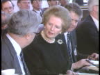 EEC Workers Rights Plan F/back Mrs Thatcher and Foreign Secretary Sir Geoffrey Howe at EEC mtg ITN LIB