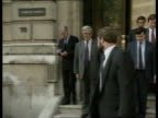 EMS Social Charter Row/ Jacques Delors Visit ITN Sir Geoffrey Howe posing on steps of Cabinet office then walks to car