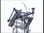 Politics Gerry Adams Bugging Claim ITN NORTHERN IRELAND Belfast EXT LA GV CCTV camera MS metal scaffold structure with aerials attached to it TILT UP...