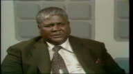 Politics Joshua Nkomo Interview a Nkomo interview ENGLAND London ITN Studio Nkomo SOF Oh my feelings are ZOOM other colonies