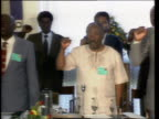 Mandela Meets ANC Leaders ZAMBIA Lusaka MS ANC leader Nelson Mandela towards across red carpet accompanied by others ZOOM IN as military band SOF CMS...