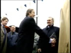 NorthSouth Divide Tony Blair Visit to Manchester Salford Blair shaking hands with supporters TRACK BACK BV Blair shaking hands on platform INT TCMS...
