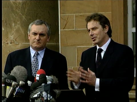 Politics Peace Talks Breakthrough ITN NORTHERN IRELAND Belfast Hillsborough Castle EXT Tony Blair and Bertie Ahern out of building and up to pkf mics...