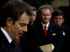 Politics Peace Talks Breakthrough ITN NORTHERN IRELAND Belfast Hillsborough Castle Tony Blair and Bertie Ahern out of building and up to microphones...