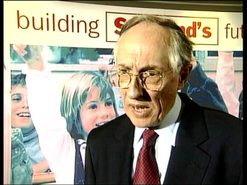 Scottish Assembly Election Campaign ITN SCOTLAND Edinburgh Donald Dewar MP interview SOT Now we can get on with building solutions for problems in...