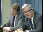 Sir Geoffrey Howe interview ITN ENGLAND London Sir Geoffrey Howe Foreign Secretary and Linda Chalker Foreign Office Minister speaking to...