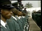 Tony Blair Africa Visit Nigeria POOL NIGERIA Abuja EXT British Prime Minister Tony Blair MP greeted by President Olusegun Obasanjo LMS Blair and...