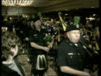 USA and the Northern Ireland Question USA MS New York City Police Band Irish New York pipers leading Gerry Adams into rally SOT CMS Gerry Adams into...